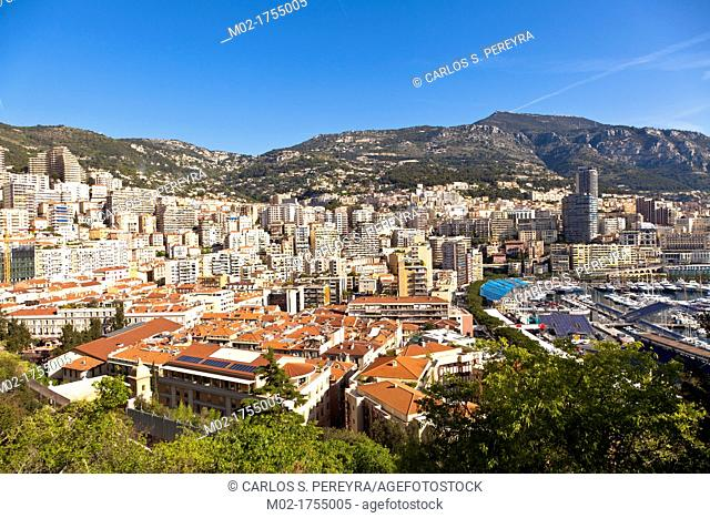 View of La Condamine and Moneghetti distrcits, Principality of Monaco, Europe
