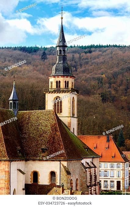 Old medieval abbey church in Alsace, France