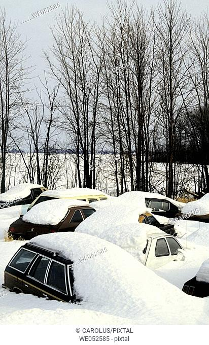Cars under snow. Montreal area. Province of Quebec. Canada