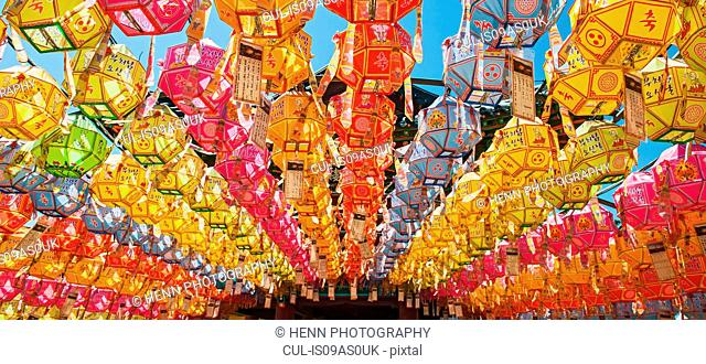 Rows of lanterns honoring buddhas birthday in Naksansa Temple, Naksansa, Yangyang, Gangwon province, South Korea