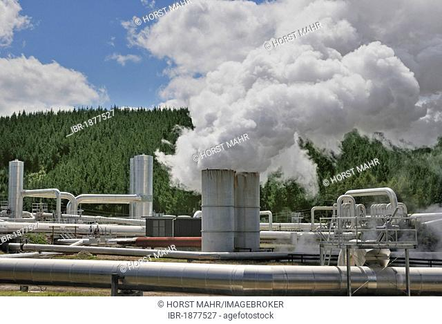 Geothermal power plant, Borefield Wairakei, North Island, New Zealand