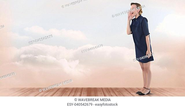 Businesswoman standing in room shouting with clouds
