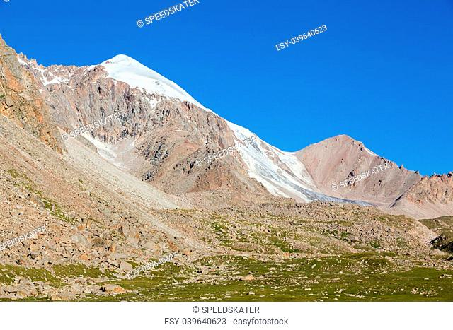 Mountain and small glacier. Tien Shan, Kyrgyzstan