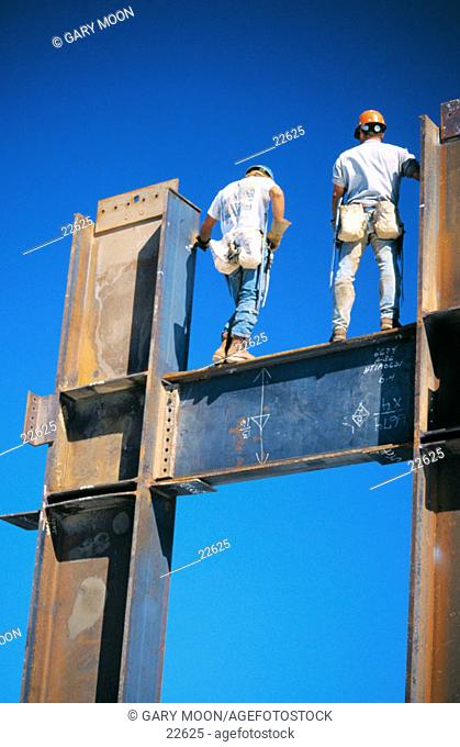 Ironworkers building steel high rise structure
