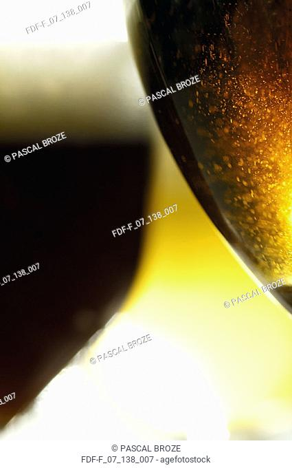 Close-up of two glasses of beer