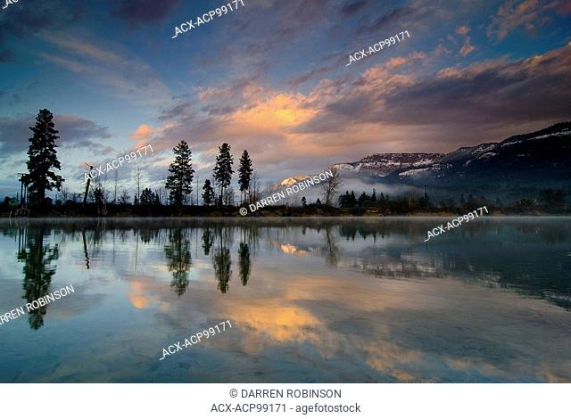 Early winter sunset over the Shuswap River and Enderby Cliffs in Enderby, in the Shuswap region of British Columbia, Canada