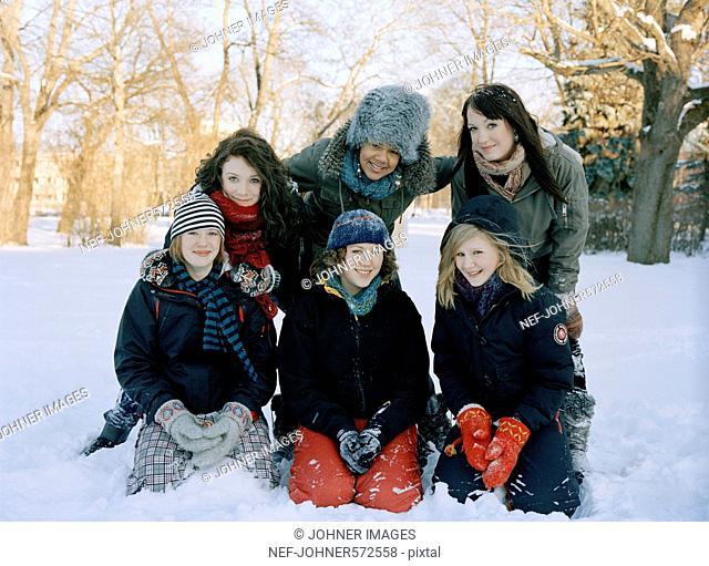 Teenage girls in the snow, Sweden