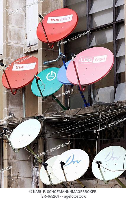 Colourful satellite dishes on a building, Bang Rak, Bangkok, Thailand