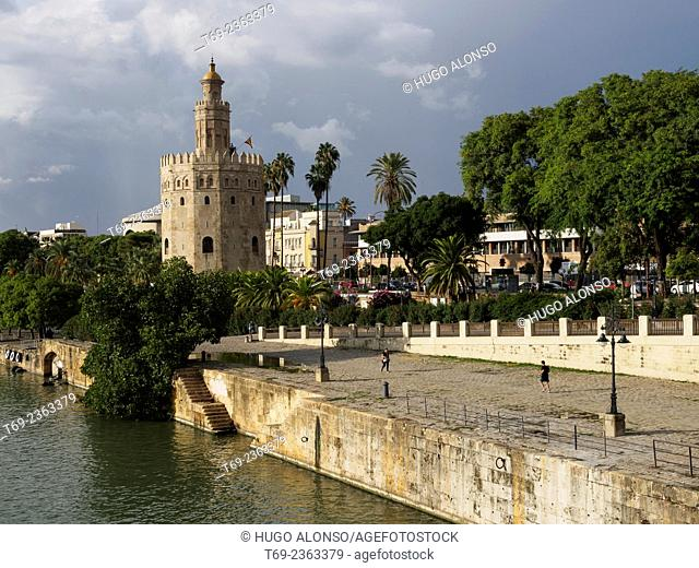 Gold Tower and San Telmo bridge on the river Guadalquivir. Seville. Spain