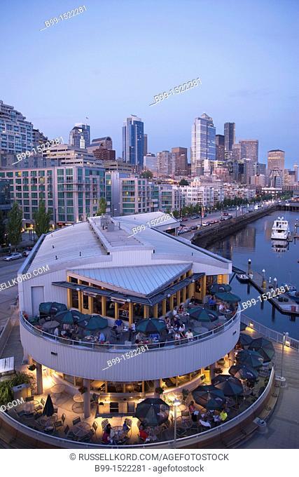 Outdoor Restaurant Pier 66 Bell Street Marina Elliot Bay Downtown Skyline Seattle Washington State USA
