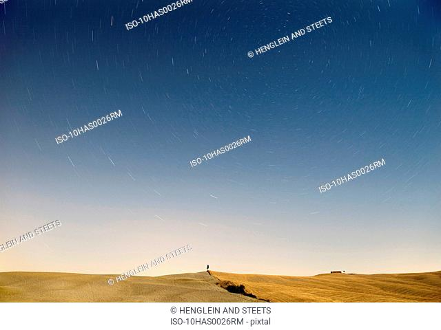 Landscape, stars in Tuscany at night
