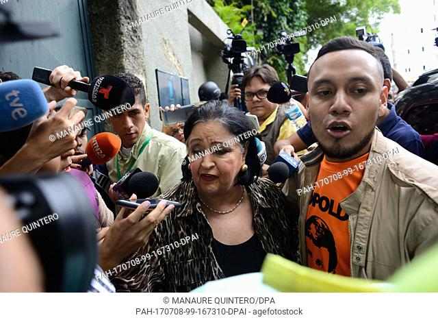 Edith Lopez, aunt of the opposition leader Leopoldo Lopez, speaks to the press in front of his house in Caracas, Venezuela, 8 July 2017