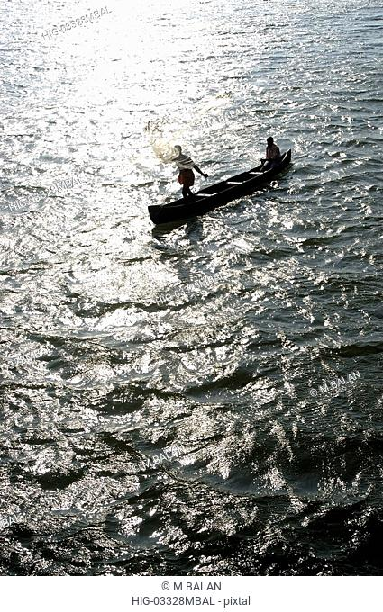 FISHING IN THE BACKWATERS OF VALIAPARAMBA IN KASARAGOD DISTRICT