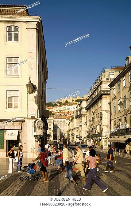 Portugal, Lisbon, Portugal, Lisbon, Baixa Chiado ,pedestrians castelo