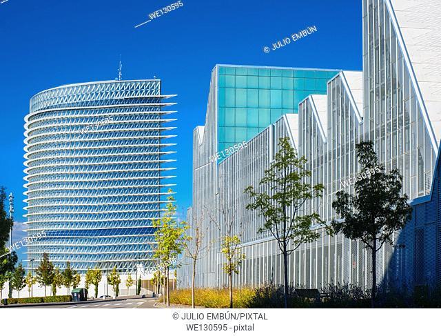 modern office buildings glisten in the sun in Saragossa, Spain