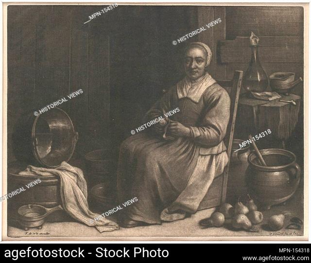 A Woman Peeling Pears. Artist: Wallerant Vaillant (Dutch, Lille 1623-1677 Amsterdam); Date: mid-17th century; Medium: Mezzotint; second state of two;...