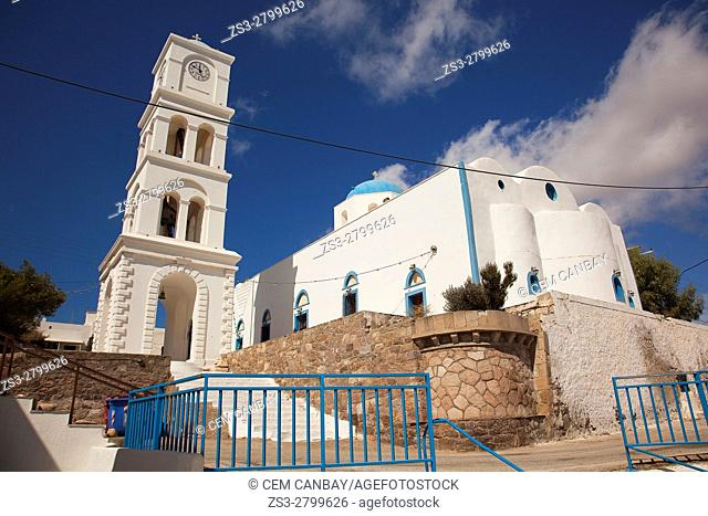 View to the blue domed main church in the port village Adamas, Milos, Cyclades Islands, Greek Islands, Greece, Europe