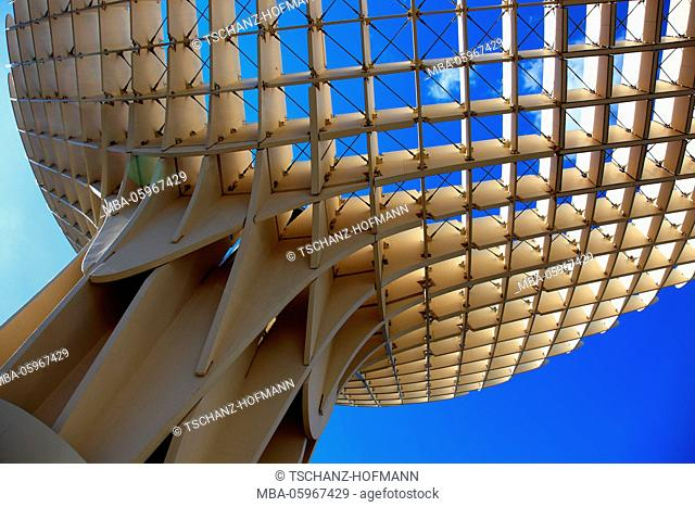 Spain, Andalusia, old town of Seville, the Metropol Parasol is a piece of art on the square Plaza de la Encarnacion