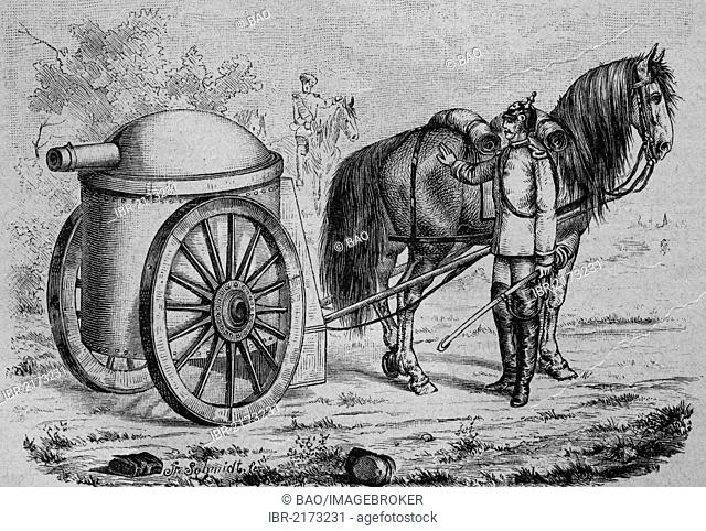 Wheeled armored turret of Hermann August Jacques Gruson, 1821 - 1895, inventor, scientist and industrialist, historic engraving, circa 1885