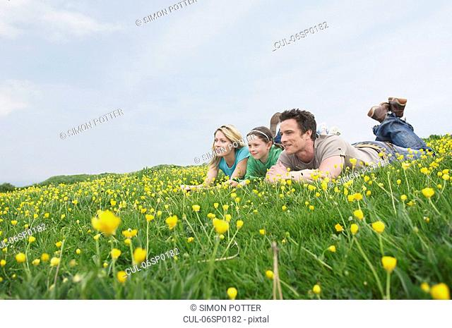 Family laying in field