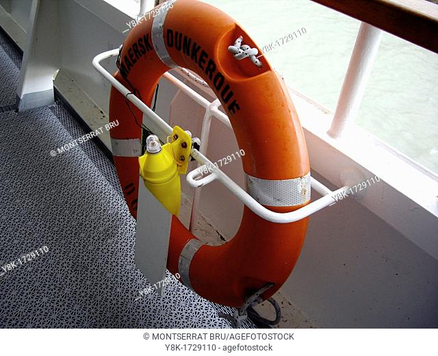Life belt on ferry boat, Dover Dunkerque