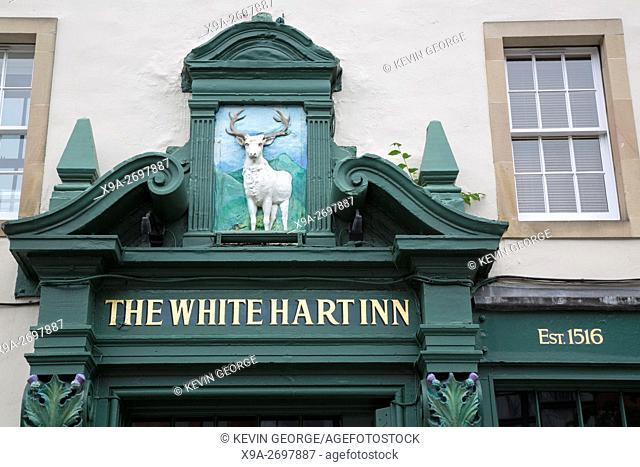 White Hart Inn Pub Sign, Grassmarket, Edinburgh, Scotland