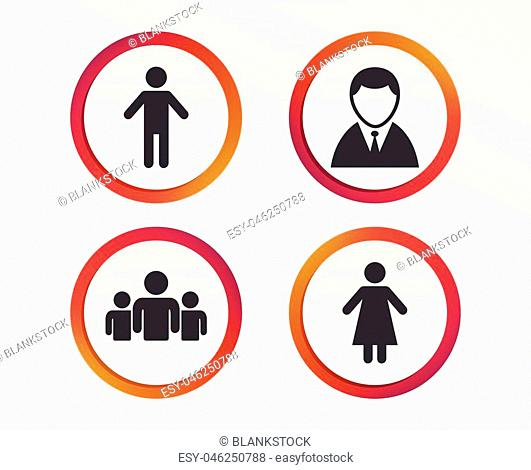 Businessman person icon. Group of people symbol. Man and Woman signs. Infographic design buttons. Circle templates. Vector