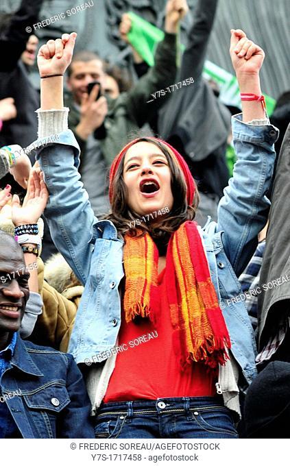 People celebrate François Hollande victory at the Bastille Square in Paris,France,Europe