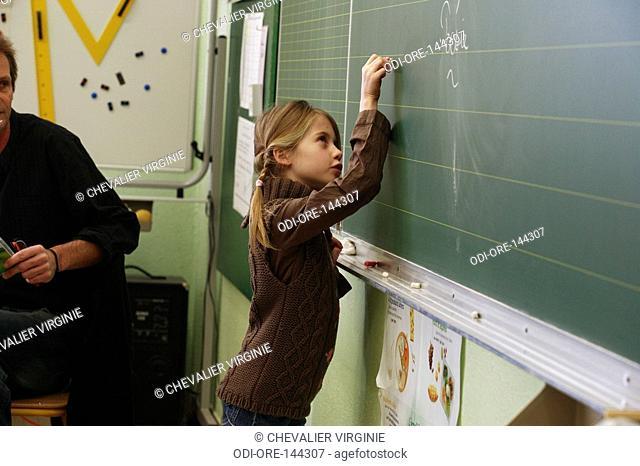 Girl blackboard