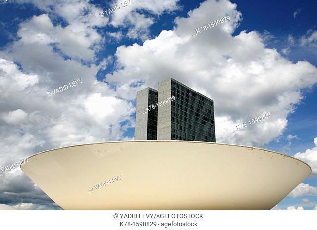 Congresso Nacional or the National Congress designed by Oscar Niemeyer, Brasilia, Brazil