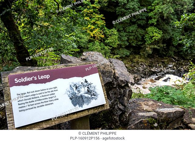 Information board at Soldier's Leap, historic spot along the River Garry at the Pass of Killiecrankie, Scotland, UK