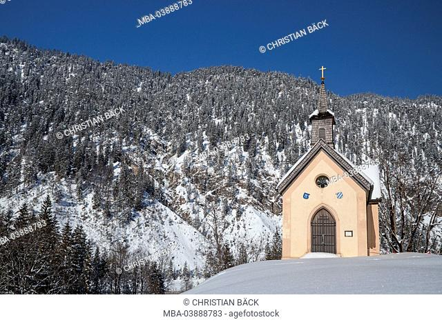 Chapel in Vorderriss in the upper Isar valley, Lenggries, Upper Bavaria, Bavaria, Germany