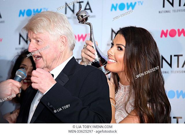 The National TV Awards 2018 - Winners Room Featuring: Stanley Johnson, Rebekah Vardy Where: London, United Kingdom When: 23 Jan 2018 Credit: Lia Toby/WENN
