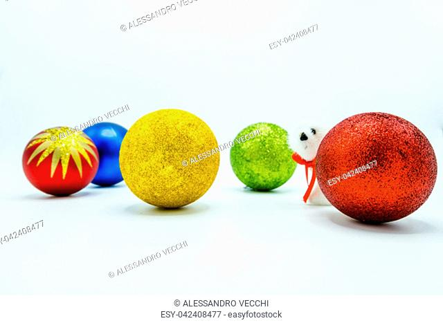 Holidays wallpaper background of Christmas tree decorations isolated on white background