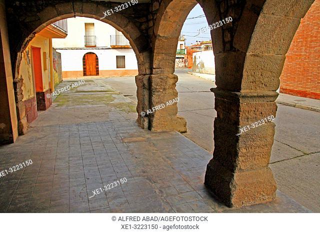 arcades and street, Bellcaire d'Urgell, Lleida, Catalonia, Spain