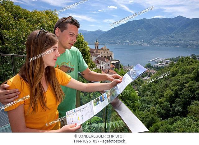 Switzerland, Europe, lake, canton, TI, Ticino, Southern Switzerland, Lago Maggiore, church, religion, Madonna del Sasso, Locarno, couple, man, woman, couples
