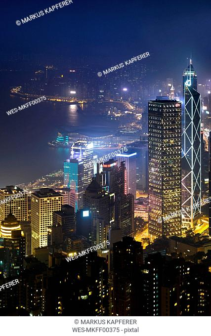 China, Hong Kong, Central at night
