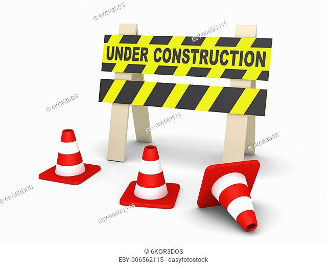 3d Under Construction sign and traffic cones