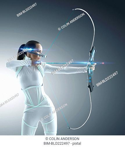 Futuristic Pacific Islander archer using hi-tech bow and arrow