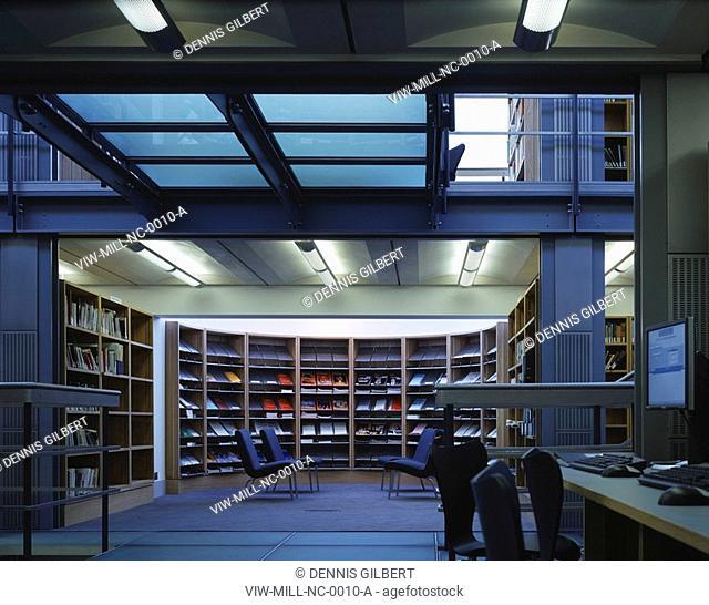 NEWNHAM COLLEGE LIBRARY, NEWNHAM COLLEGE, CAMBRIDGE, CAMBRIDGESHIRE, UK, JOHN MILLER & PARTNERS, INTERIOR, GROUND FLOOR TO PERIODICALS READING AREA