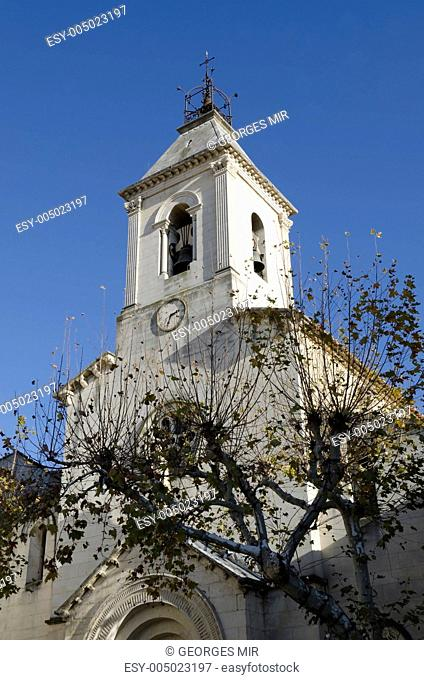 church steeple in Beaumes de Venise, France