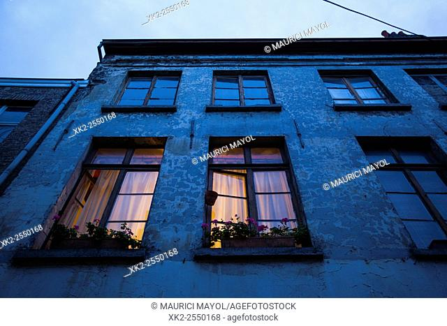Light inside windows in Patershol, Ghent, Belgium