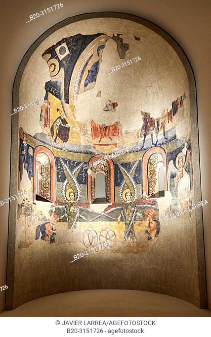 Apse of Santa Maria d'Aneu, S. XI-XII, Master of Pedret, Medieval Romanesque paintings, National Museum of Catalan Art, Museu Nacional d Art de Catalunya, MNAC