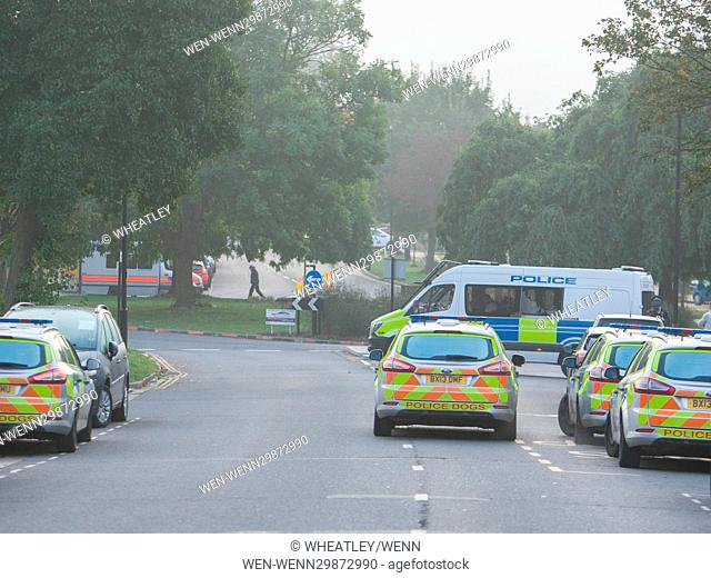 Police cordon off an area in Northolt, London, reportedly due to the discovery of explosives. Featuring: Atmosphere Where: London