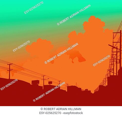 Editable vector illustration of clouds over a city