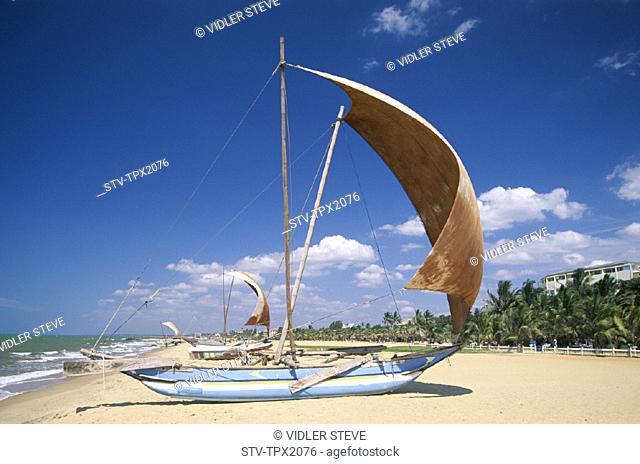 Beach, Boats, Fishing, Holiday, Landmark, Negombo, Outrigger, Sri lanka, Asia, Tourism, Traditional, Travel, Vacation