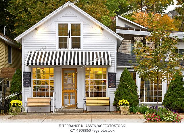 The mainstreet shops and stores in downtown Harbor Springs, Michigan, USA