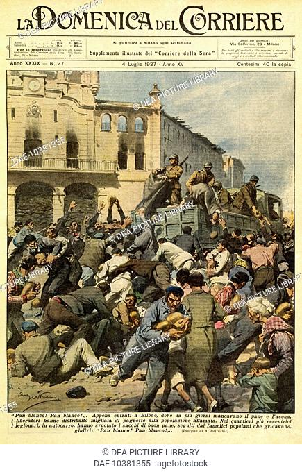 Nationalist troops distributing food to the liberated inhabitants of Bilbao. Achille Beltrame (1871-1945), from the Domenica del Corriere, July 4, 1937
