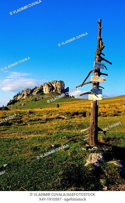 The tourist signpost at the Kralova studna, National Park Velka Fatra, Slovakia