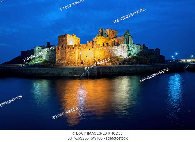 Peel castle reflected at night